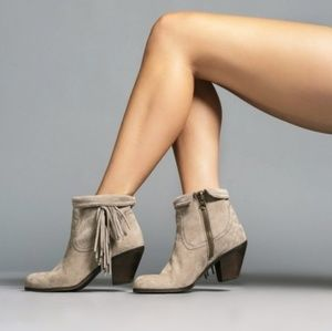 "NWOT Sam Edelman • ""Louis"" taupe ankle fringe boot"